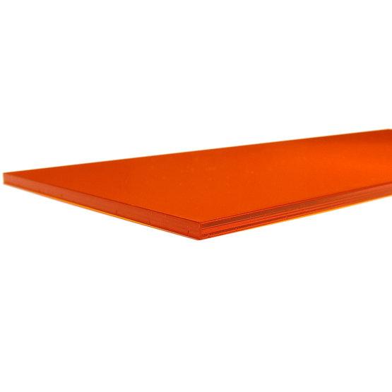 Bords coupés - Plexiglass orange transparent pour la découpe au laser