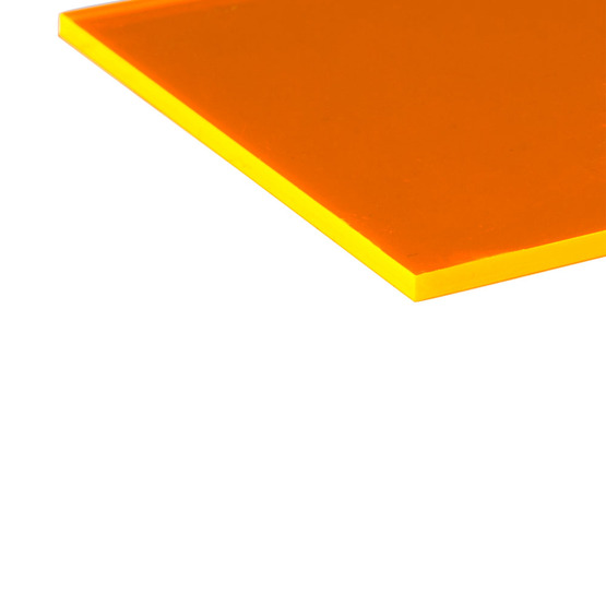 Cut edges - Fluorescent orange Plexiglass for laser cutting