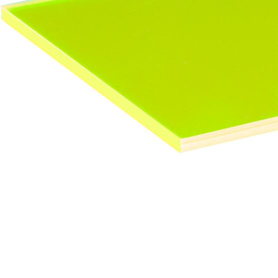 Cut edges - Yellow Plexiglass fluorescent highlight for laser cutting