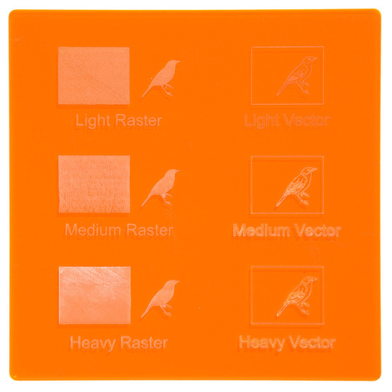 Engraving example - fluorescent orange Plexiglass for laser cutting