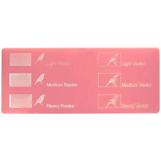 Engraving example - Pink Plexiglass for laser cutting