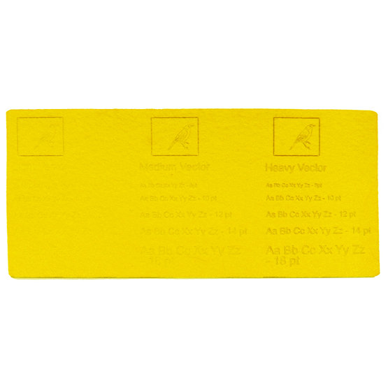 Engraving example - yellow felt for laser cutting