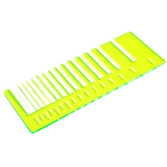 Precision test - yellow plexiglass fluorescent highlight for laser cutting
