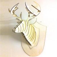 trofeo testa di cervo in compensato di pioppo tagliato al laser