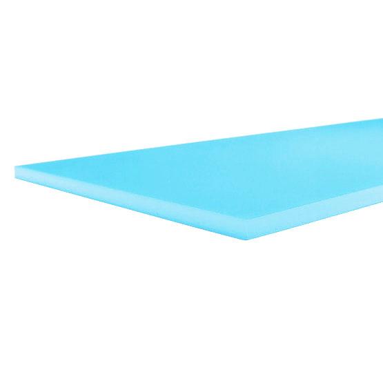 Plexiglas baby blue opalino - esempio di taglio
