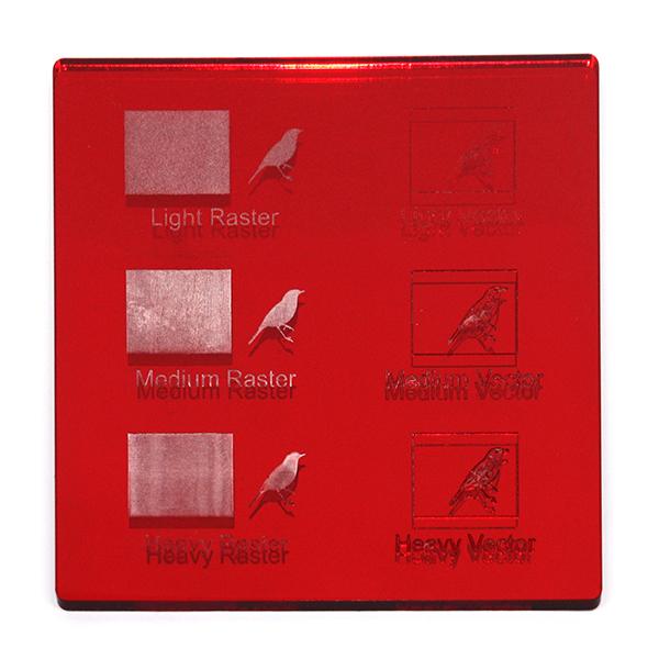 Acrilico specchio rosso - esempio di incisioni