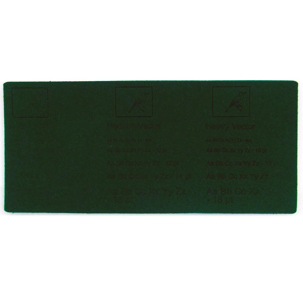 Feltro verde scuro - esempi di incisione