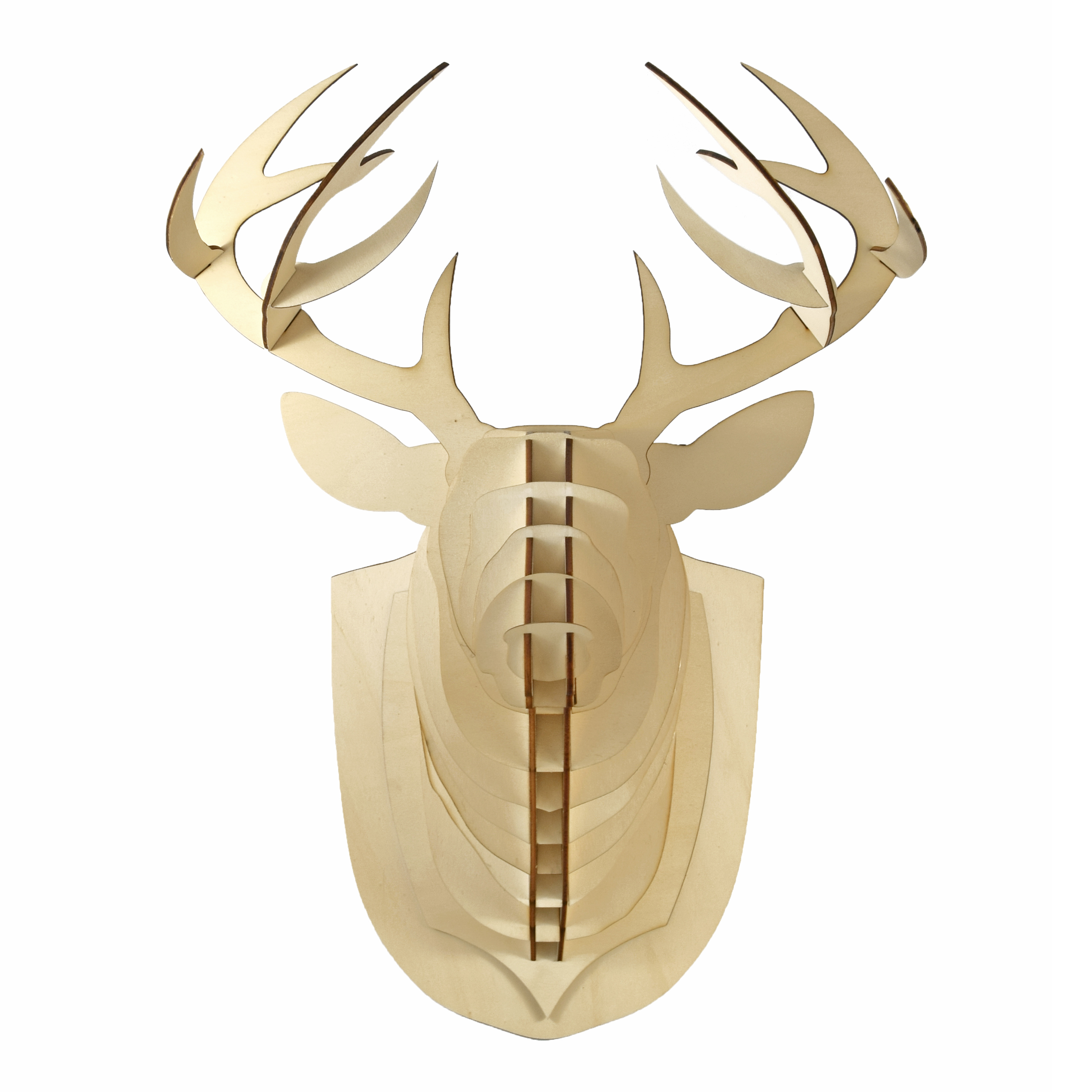 Deer head wooden trophy