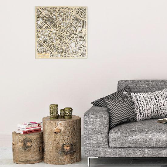 Beamaps - Mappa di Milano in legno | quadro