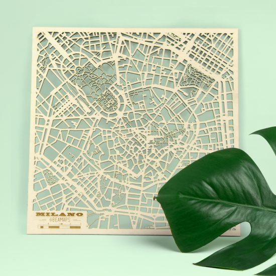 Beamaps - Mappa di Milano in legno | dettaglio