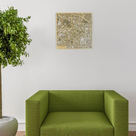 Beamaps - Mappa di Milano in legno | quadro appeso