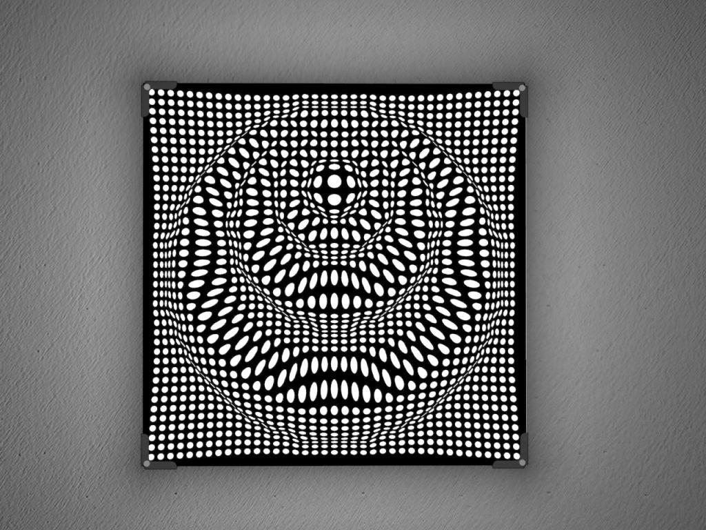 Mostra lampade in taglio laser plexiglass nero | Vectorealism