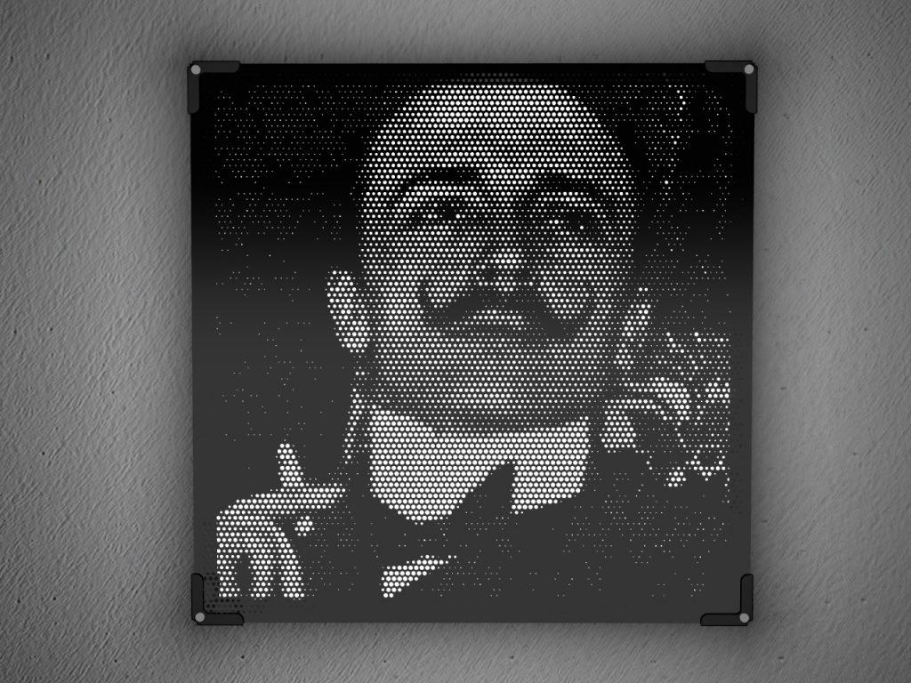 Lampada artistica in plexiglass nero | Vectorealism