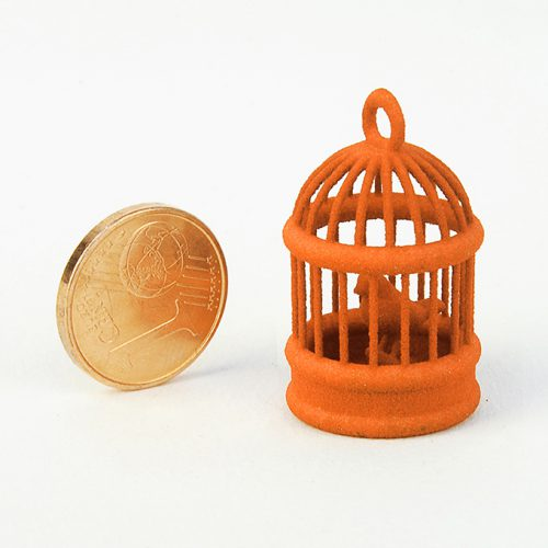 Stampa 3D con plastica arancione (nylon sls)