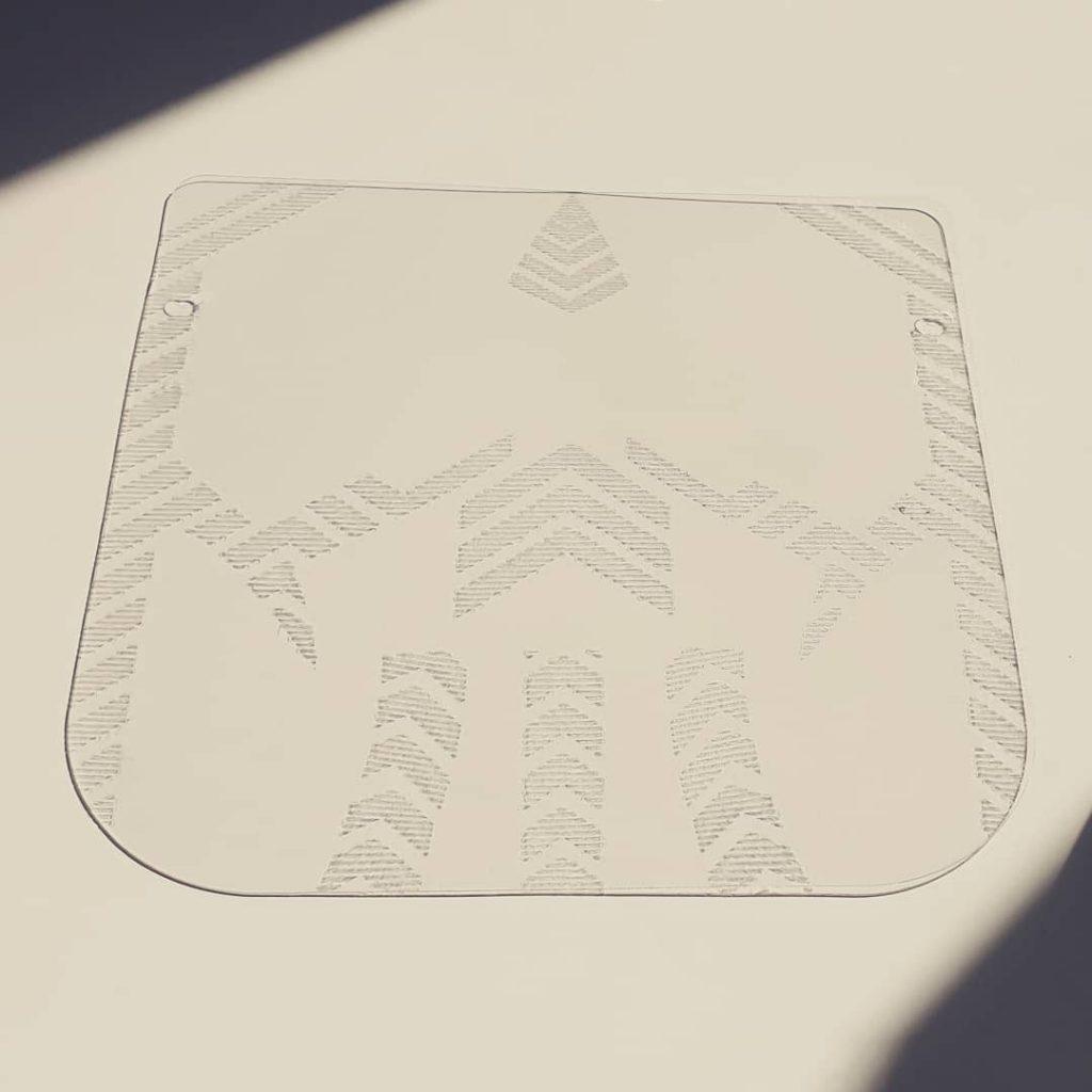 Custom face shield lasercut PETG